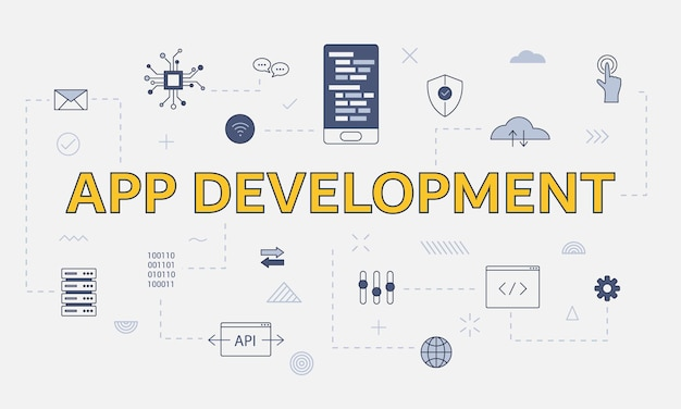 Mobile app development concept with icon set with big word or text on center vector illustration
