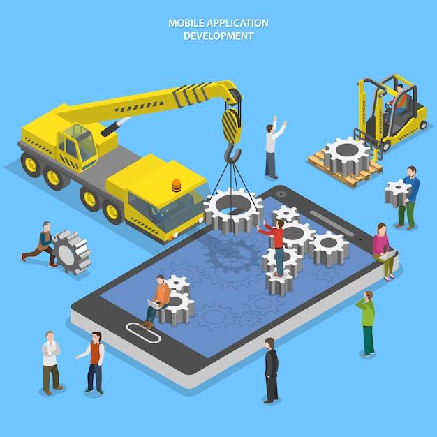 Mobile app development illustration Premium Vector