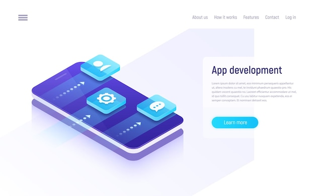 Mobile app development isometric concept. Premium Vector