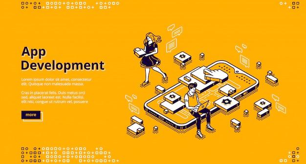 Pagina di destinazione isometrica per lo sviluppo di app mobili Vettore gratuito