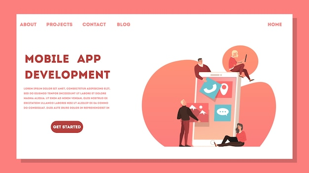 モバイルアプリ開発webバナーのコンセプト。現代の技術とインターネット接続。スマートフォンインターフェース。コーディングとプログラミング。漫画のスタイルのイラスト Premiumベクター