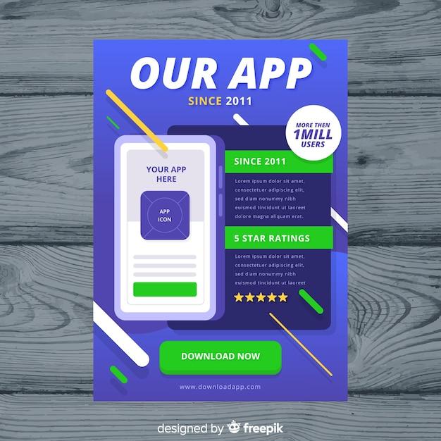 Mobile app flyer template Vector | Free Download