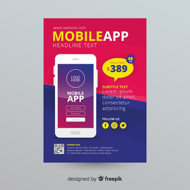 Mobile app flyer template Free Vector