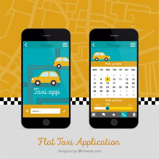 Mobile app for taxis vector | free download.
