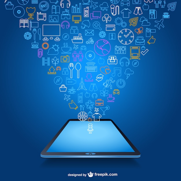 Mobile App In A Tablet Free Vector