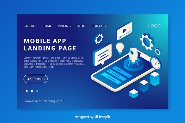 Mobile app landing page Free Vector