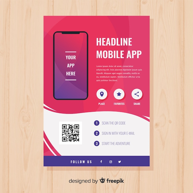 Mobile app poster Vector | Free Download