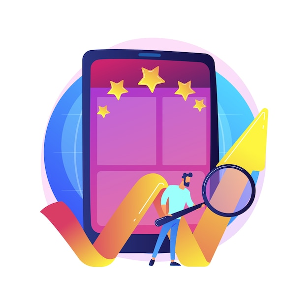 Mobile app rating, online grading, efficiency mark. setting stars for application, function evaluation. smartphone users cartoon characters Free Vector