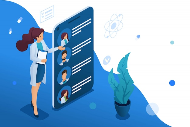 Mobile app to search for doctors nearby with you Premium Vector