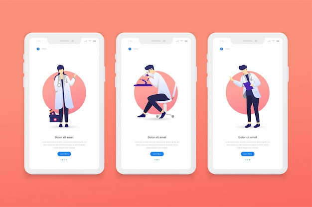 Mobile app templates Premium Vector