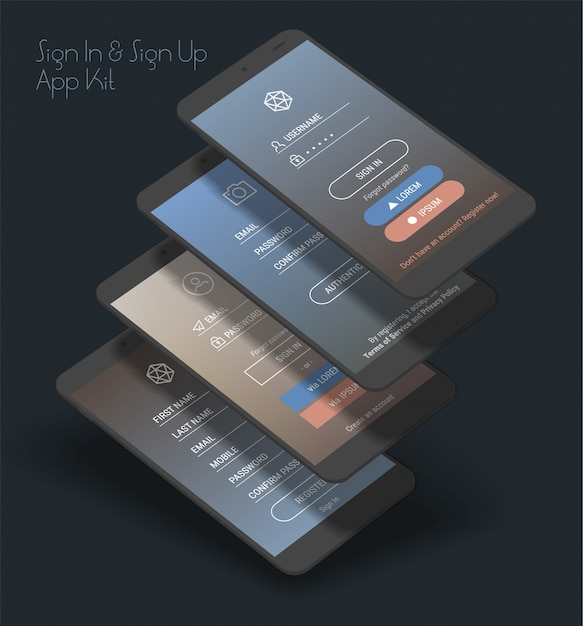 Mobile app ui sign in and sign up screens 3d  kit Premium Vector
