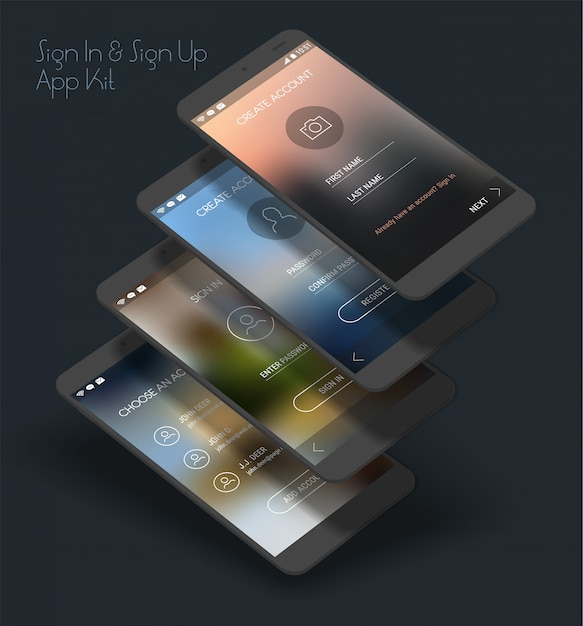 Mobile app ui sign in and sign up screens 3d mockup kit Premium Vector