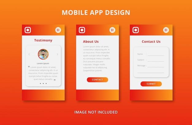 Mobile app user interface design with orange gradient Premium Vector
