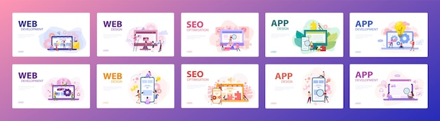 Mobile app and web development banner concept set. programming app for digital device. creating int