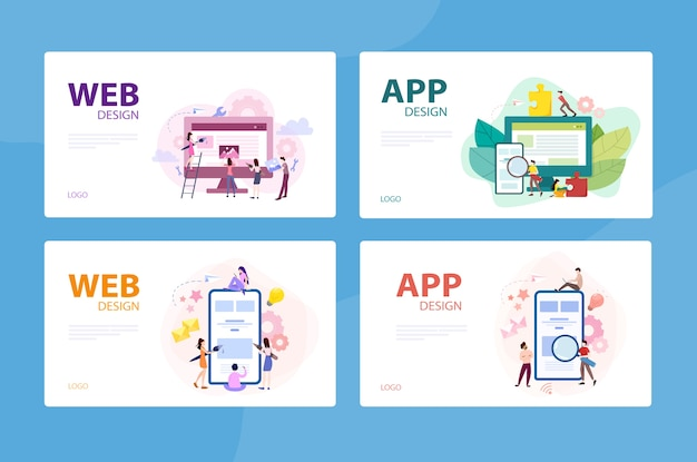 Mobile app and web development banner concept set. programming app for digital device. creating interface for user.   illustration in  style Premium Vector