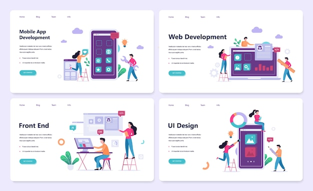 Mobile app and web development banner concept set Premium Vector