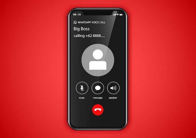 Mobile application call screen Premium Vector
