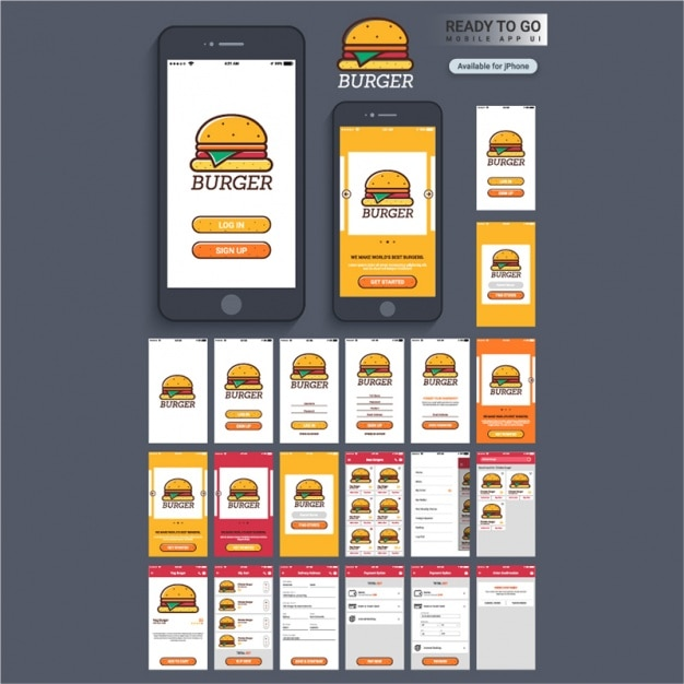 Mobile Application Design With Burger Vector Premium
