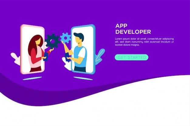 Mobile application developer illustration Premium Vector