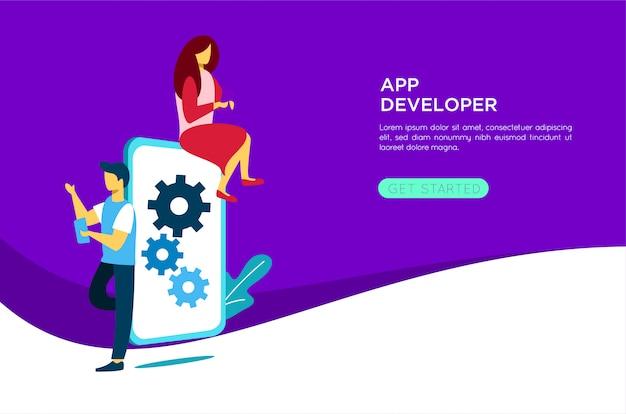 Mobile application developer illustration Vector | Premium
