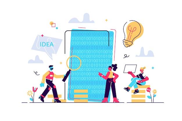 モバイルアプリケーション開発プロセス、ソフトウェアapiプロトタイピングとテストの背景、経験豊富なチーム-イラスト、グラフィックデザイン、モバイルアプリの構築、コーディング、プログラミング。 seo。探す Premiumベクター