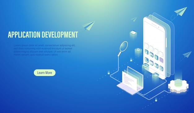 Mobile application development and program coding concept Premium Vector