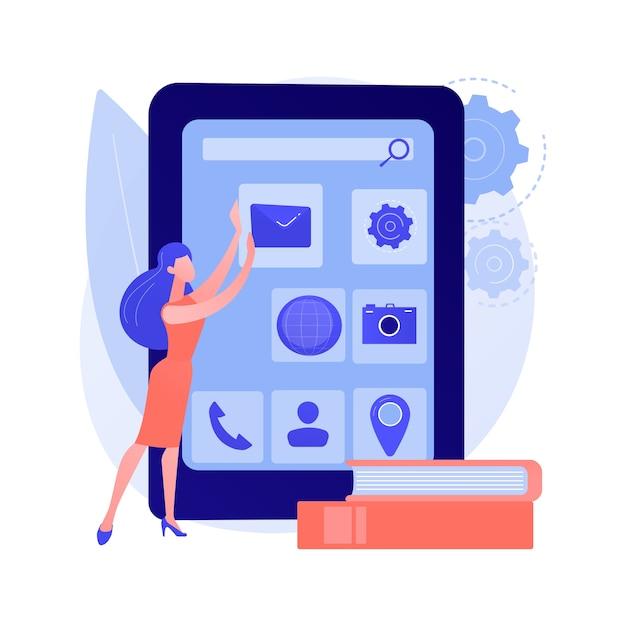 Разработка мобильных приложений. верстка пользовательского интерфейса, программное обеспечение для телефонов, разработка приложений для мобильных телефонов. веб-разработчик, создающий дизайн пользовательского интерфейса смартфона. Бесплатные векторы