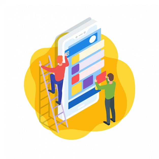 Mobile application interface isometric illustration Premium Vector