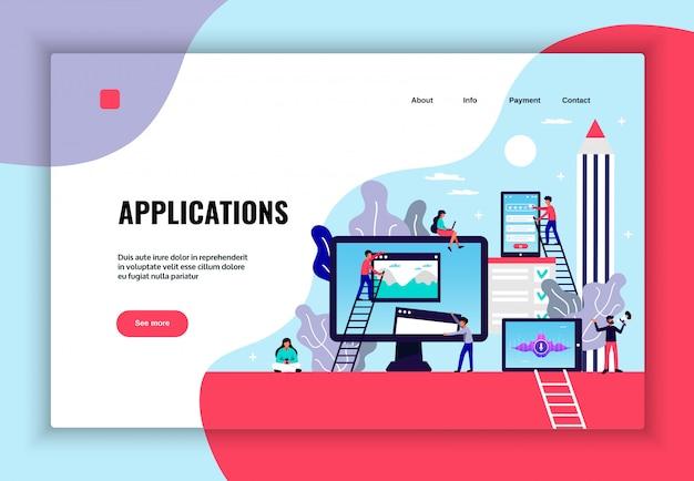 Mobile application page design with web hosting services symbols flat   illustration Free Vector