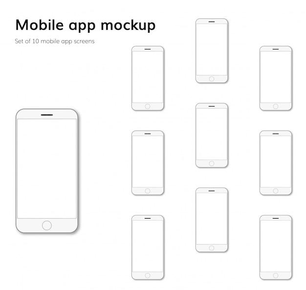 Mobile application screens mockup Premium Vector