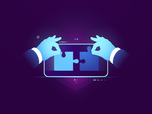 モバイルアプリケーションのテスト、2ピースのパズルの接続、ux uiデザイン開発コンセプト 無料ベクター