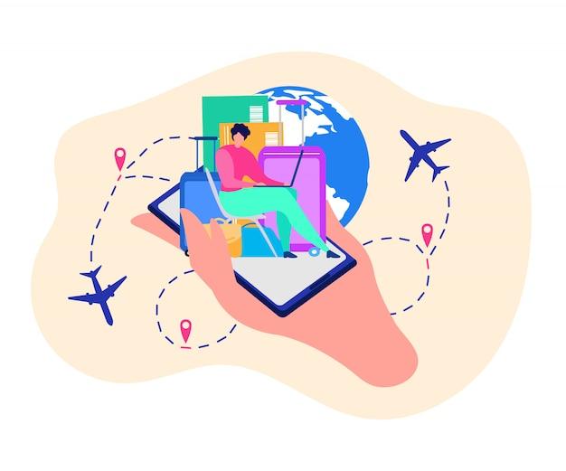 Applicazione mobile per il concetto di vettore di viaggiatori Vettore gratuito
