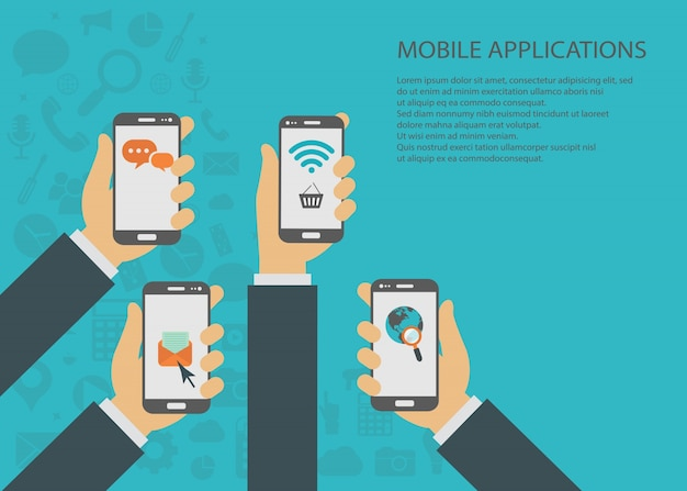 Mobile applications concept Free Vector