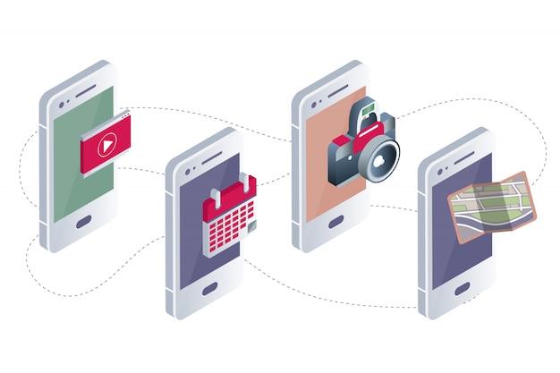 Mobile applications concept Premium Vector