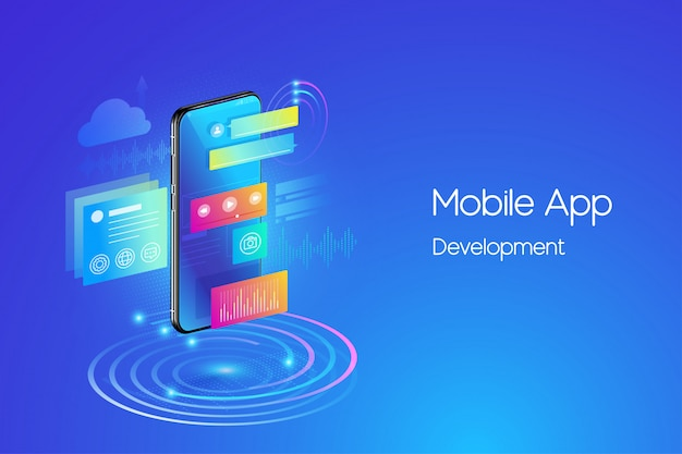 Mobile applications development illustration Premium Vector
