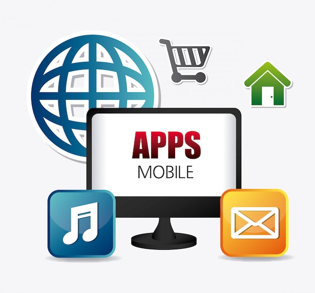 Mobile applications and technology icons design. Premium Vector
