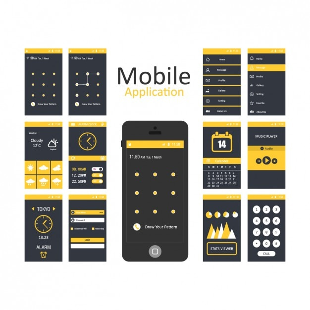mobile applications templates vector free download. Black Bedroom Furniture Sets. Home Design Ideas