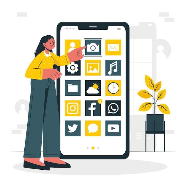 Illustrazione di concetto di app mobili Vettore gratuito