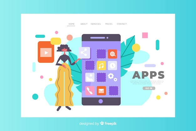 Mobile apps concept for landing page Free Vector