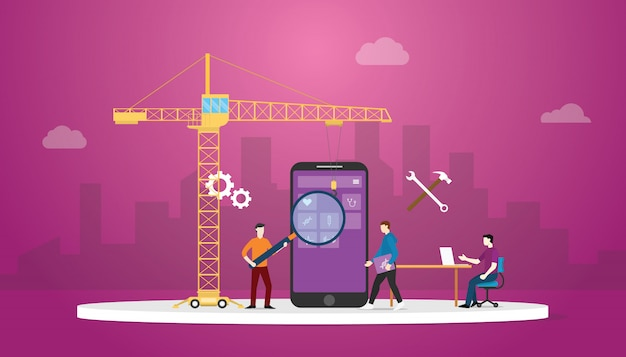 Mobile apps development technology with team developer and crane with city background and modern flat style. Premium Vector