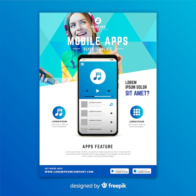 Mobile apps flyer template with photo Free Vector