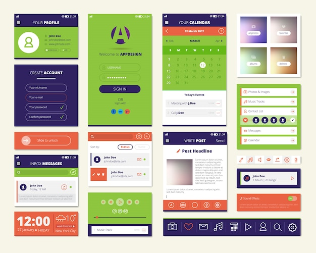 Mobile apps screen elements set with dashboard music player weather widget Free Vector