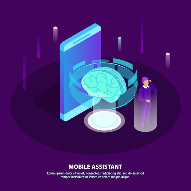 Mobile assistant isometric poster with glow brain as symbol artificial intelligence and man getting necessary information with mobile app in his smartphone Free Vector