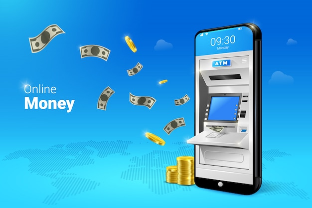 Mobile atm money transfer or withdrawal with falling moneys illustration. Premium Vector
