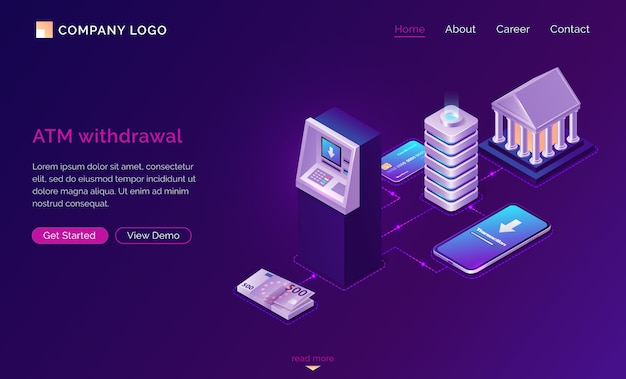 Mobile atm withdrawal isometric landing page Free Vector