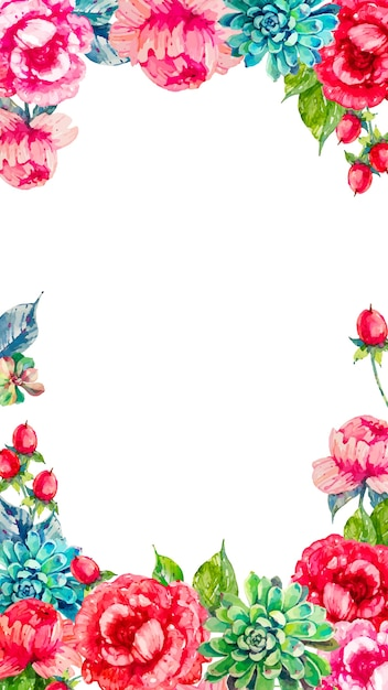 Mobile background with colorful watercolor flowers Free Vector