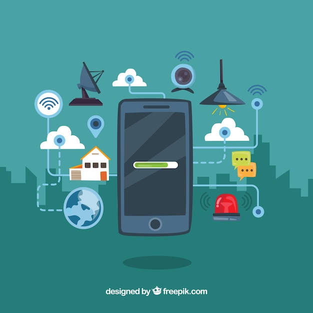 Mobile background with elements connected to internet Free Vector