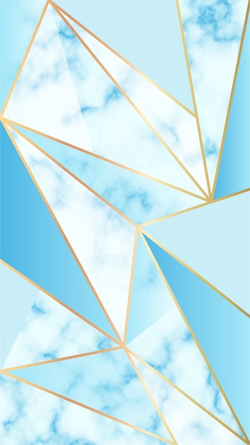 Mobile background with marble effect and blue geometric shapes Free Vector