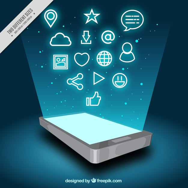 Mobile background with screen and icons Free Vector