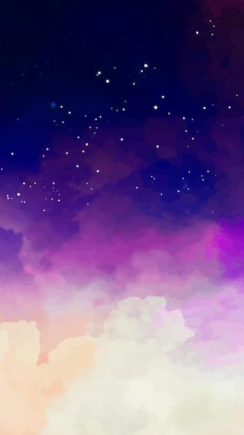 별이 빛나는 하늘과 보라색 톤으로 모바일 배경 무료 벡터